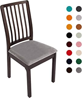 Soft Velvet Stretch Fitted Dining Chair Seat Covers, Removable Washable Anti-Dust Dining Room Upholstered Chair Seat Cushion Cover Kitchen Chair Protector Slipcovers with Ties - Set of 6, Grey
