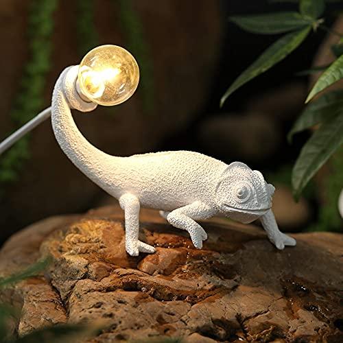 Lámpara de mesa pequeña de lagarto de resina, lámpara de noche creativa, lámpara de noche para niños con interruptor, lámpara de mesa E12 para decoración del hogar, sala de estar, dormitorio, oficina,