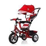 Triciclo Infantil Bicicleta Triciclo Niños con Asiento Giratorio Adecuado para Mayores de 12 Meses - 5 años Capacidad de Carga 30KG, Red