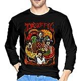 Men's Design of Traffic Band Black Long Sleeve T Shirts,Medium