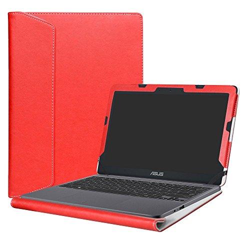 Alapmk Diseñado Especialmente La Funda Protectora de Cuero de PU Para 11.6 ASUS VivoBook E203NA E200HA L200HA/Chromebook C201 C201PA Series Ordenador portátil,Rojo
