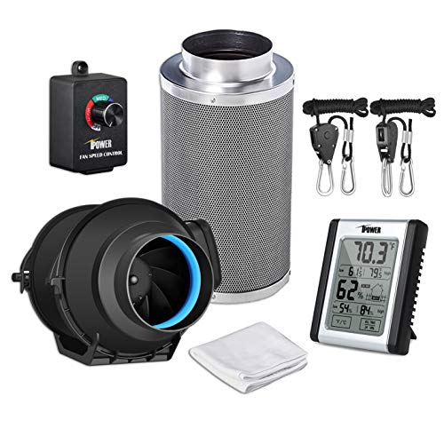 """iPower GLFANXEXPSET4CHUMD 4 Inch 150 CFM Inline Filter with Fan Speed Controller and Temperature Humidity Monitor Grow Tent Ventilation, 4"""" Kits, Black"""