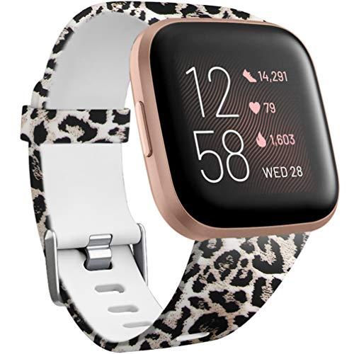 Wepro Kompatibel für Fitbit Versa Armband/Fitbit Versa 2 Armband, Wasserdichtes Blume Ersatz Armbänder Musterband Kompatibel mit Fitbit Versa/Fitbit Versa Lite Smartwatch, Klein Leopard