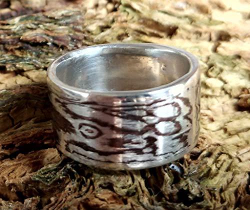 Mokume Gane Ring aus 999er Silber und Shakudo mit Innenring aus 935er Silber, Größe 54 (17.2), handgeschmiedetes Unikat