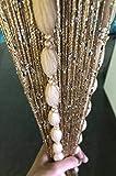 HYSENM Cortinas con cordón para puerta con bolas blandas diseño romántico con purpurina divisor de habitación decoración para el hogar para bodas niñas champán 100x200cm