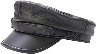 Adult Genuine Leather Fiddler Cap Flat Top Maciejówka Breton Style Mariner's cap