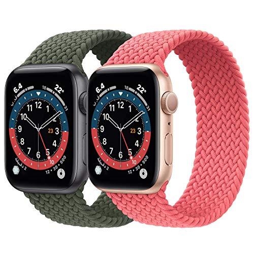 PumpRush - Paquete de 2 correas deportivas trenzadas Solo Loop, compatibles con Apple Watch de 1.50/1.57/1.65/1.73 pulgadas (38/40/42/44 mm), suaves y elásticas, para mujeres y hombres; correas elásticas compatibles con iWatch Series 6/SE/5/4/3/2/1
