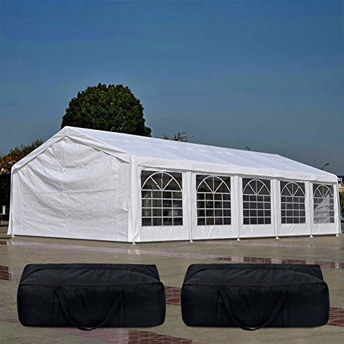 Quictent 20' x 32' Upgraded Galvanized Heavy Duty Gazebo Party Tent Wedding Canopy Carport Shelter with 5 Carry Bags(20x32, White)