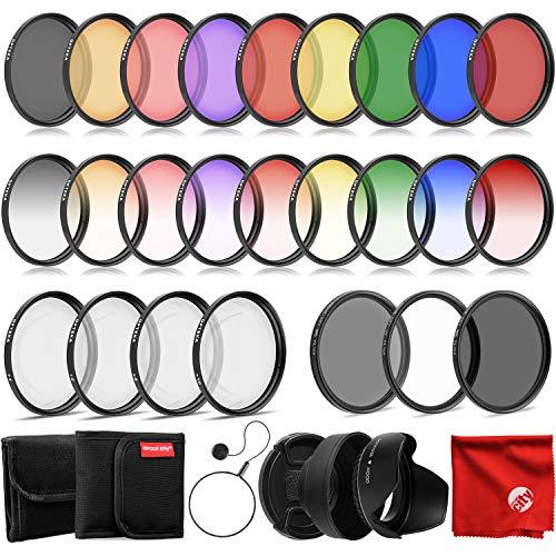 Opteka 58mm 9 Piece HD Multicoated Graduated Color Filter Kit Set for Digital SLR Cameras Bundle with Opteka 58mm 9 Piece HD Multicoated Solid Color Special Effect Filter Kit & Accessories (8 Items)