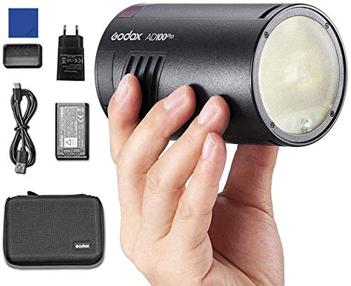 Godox AD100Pro 100W Flash 2.4G HSS 1 / 8000s Monolight Rond de Poche avec Batterie 2600mAh...