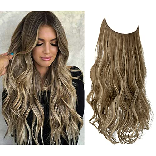 Hair Extension Halo Curly Long Synthetic Hairpiece Medium Brown With Ash Blonde Highlight 18 Inch 4.2 Oz Hidden Wire Headband for Women Heat Resistant Fiber No Clip SARLA(M01&10H24B)