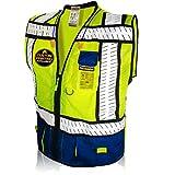 KwikSafety (Charlotte, NC) SHERIFF (Multi-Use Pockets) Class 2 ANSI High Visibility Reflective Safety Vest Heavy Duty Solid/Mesh Zipper HiVis Construction Surveyor Work Men Blue Small