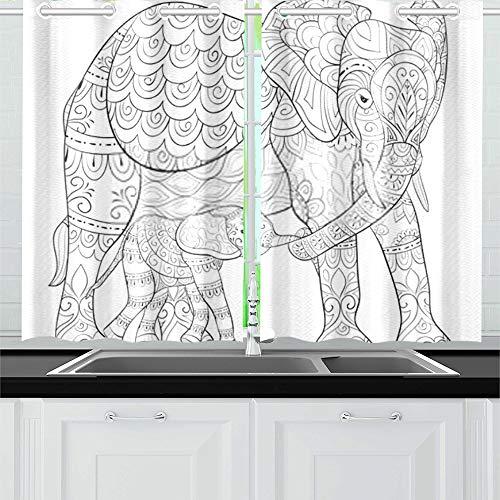 ZANSENG Verdunkelungsvorhänge für die Küche Öse Wärmeisolierter Raum Erwachsene Malbuch Seite Mutter Elefant Ihre Vorhänge für das Wohnzimmer, 2 Fenstervorhang Panels