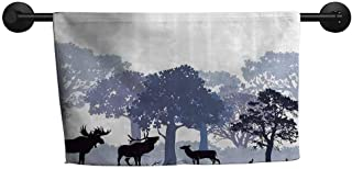 ZSUO Sand-Free Towel W 28 x L 12(inch) Machine wash Towel,Moose,Gray Forest Design Abstract Woods North American Wild Animals Deer Hare Elk Trees,Lilac Cadet Blue Black