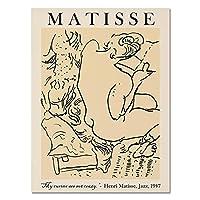マチスファッションポスター抽象的なキャラクターラインウォールアートモダンキャンバス絵画とプリントリビングルームの家の装飾の写真50x70cmX1フレームなし