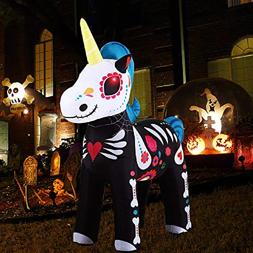 Unicorno Gonfiabile ha LED, Decorazione di Halloween Super Carina alta 1,6 m Adatta per Feste al Coperto, Giardini, Cortili