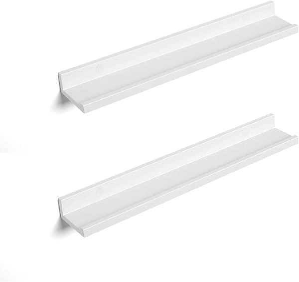 SONGMICS 月浮墙货架组 23 英寸长图片壁架置物架书架壁架现代设计收纳简易组装衣柜密度板白色 ULWS60WT