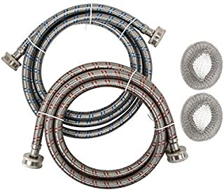 Premium Stainless Steel Washing Machine Hoses, 6 Ft Burst Proof (2 Pack) Red and Blue Hot Cold Striped Water Connection Inlet Supply Lines - Lead Free, Washer Lint Traps Included