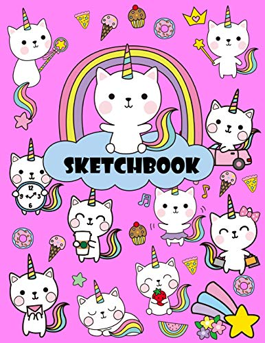 "Sketchbook: A Cute Unicorn Kawaii Large Sketchbook/Notebook:108+ Pages of 8.5""x11"" With Blank Paper for Girls To Drawing, Doodling, journaling and Sketching (Sketchbook for Kids)"