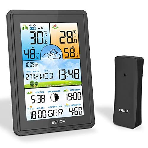 SOSPIRO Wetterstation Funk mit Auensensor,3 Senderkanle Digital Thermometer Hygrometer Innen Auen Raumthermometer Feuchtigkeit mit Wettervorhersage/Datum/Uhrzeit