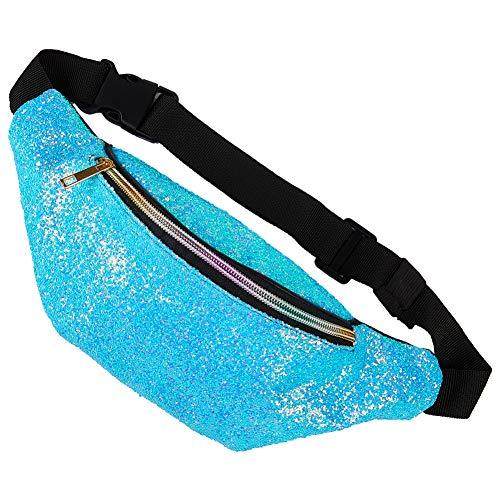 Basumee 12cmx32cm Kinder Bauchtasche Glitzer Sporttasche mit Kunstleder, Mädchen Gürteltasche Hüfttasche für Reiten Radfahren Laufen Camping Sport