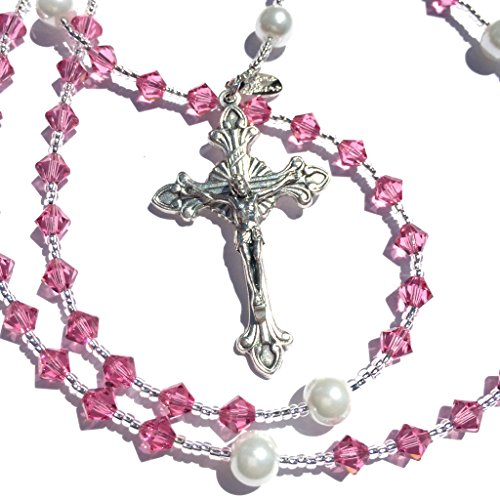 Birthstone Catholic Prayer Rosary Beads Made with Genuine Crystals from Swarovski and White Glass Pearls - Keepsake Birthday Christmas Communion Baptism (Rose - October)