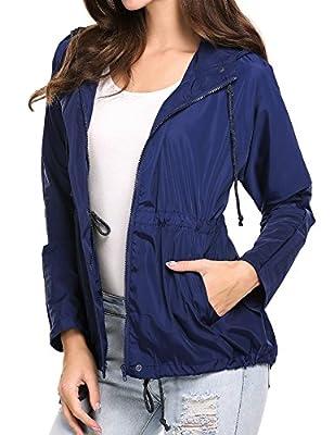 Goodfans Women Lightweight Waterproof Hooded RainCoat Hiking Outdoor Windbreaker Jacket