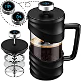 iwoxs Large French Press Coffee Maker, With Timer and Temperature, Stainless Steel Cafe Press Heat Resistant Carafe, Easy to Clean BPA Free Black
