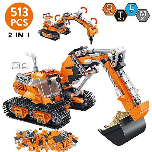 VATOS City Bausteine ab 6 7 8 9 10 Jahren Jungen, 513 Teile Konstruktionsspielzeug Bauset kreative 2-in-1 Geschenk für Kinder , STEM Spielzeug Pädagogisches Bausteine