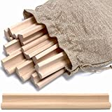Pure Ponta Scrabble Letter Holder Tray | 10 Pk Wooden Scrabble Tile Racks w/ Canvas Bag - Game Pieces Stand & Trays for Crafts | 10 Light Maple Wood Scrabble Holders Rack