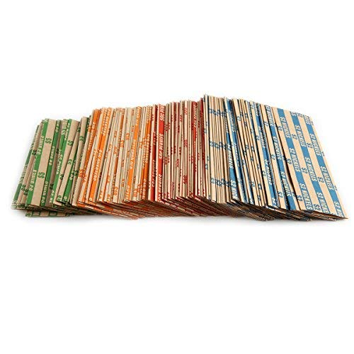 300 Assorted Bundle Flat Striped Coin Wrappers, 75 of Each