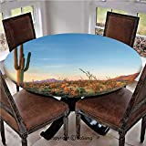 """Elastic Edged Polyester Fitted Table Cover,Photo of Cactus with Spikes Plant Flower in a Desert Sunset Lansdcape Image,Fits up 45""""-56"""" Diameter Tables,The Ultimate Protection for Your Table,Multicolor"""