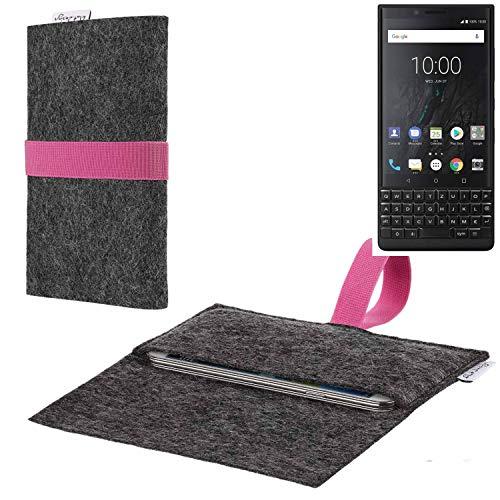 flat.design vegane Handy Hülle Aveiro für BlackBerry KEY2 (Dual-SIM) passexakte Filz Tasche Hülle Sleeve Made in Germany