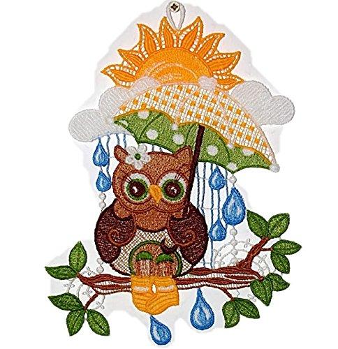 Fensterbild 15x22 cm + Saugnapf Plauener Spitze ® Stickerei Eule mit Regenschirm Spitzenbild Sommer Herbst Allzeit