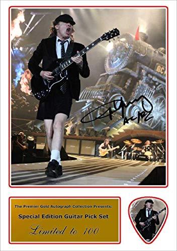 We Love Guitars Angus Young ACDC Autogramm, und Plektrum Set Foto und passende Gitarre Plektrum