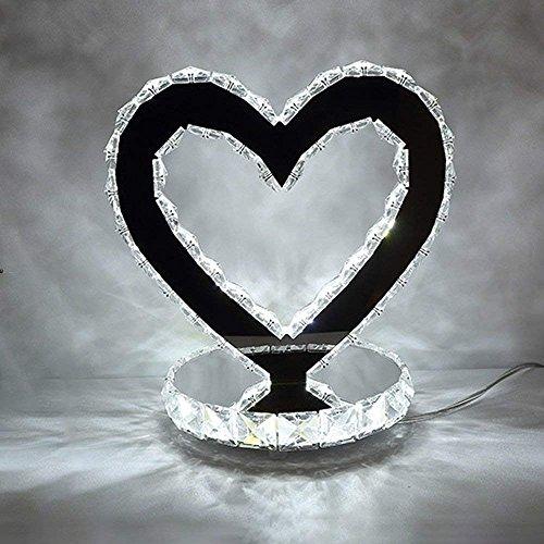 DSJ Led18W kristal hartvormige decoratieve tafellamp slaapkamer bedlampje woonkamer roestvrij staal lamp bruiloft licht, BAI