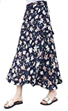 Mujer Falda Cruzada Larga Falda Verano Retro Talla Grande Falda Estampado Floral Chiffon Cintura Ajustada con Forro (Multicolor A)