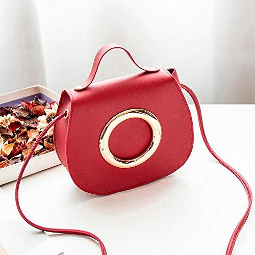 VFJLR Bolso Bandolera pequeño Simple para Mujer Anillo de Metal de Color Puro de Moda Bolso Bandolera de Cuero Sac Main Femme Red