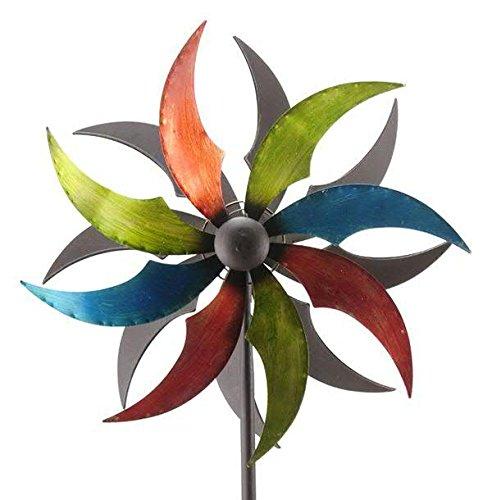 Windrad Garten - Grün/Blau/Rot - Metall - Ø 45cm/Höhe: 190cm - Wetterfest - Hochwertige Qualität & Stabiler Standstab - Gartenstecker/Metallwindrad/Windräder - Gartendeko