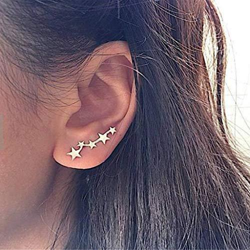 Earrings for Women Best Gifts Fashion Trend Simple Star Earrings Ear Bone Ring Jewellery Sets for St.Patrick's Day in (Gold)
