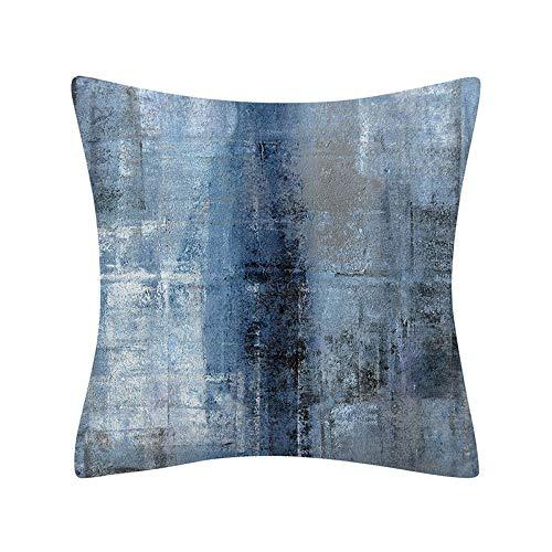 Fundas para Cojines,Moderno Abstracto Azul Marino De Felpa Corta Graffiti Print Art Soft Comfye Funda De Cojín De Tiro Cuadrado De Doble Cara 18 X 18 Pulgadas para Sofá Coches Sala De Estar Dormit
