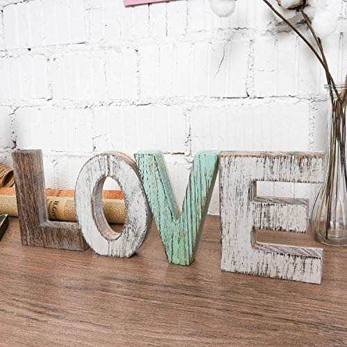 Wood Love Signs Wall Decor, Wooden Blocks Rustic Letters Cutout Farmhouse Home Table Centerpiece Decor, Multicolor, Freestanding with Double Sided Foam Tape, Gift for Valentine, Thanksgiving