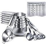 Measuring Cups, U-Taste Measuring Cups and Spoons Set of 15 in 18/8 Stainless Steel : 7 Measuring...