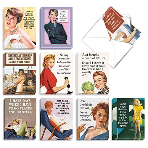The Best Card Company - 20 Note Cards Blank Assortment (4 x 5.12 Inch) (10 Designs, 2 Each) - Hot Mess AM6622OCB-B2x10