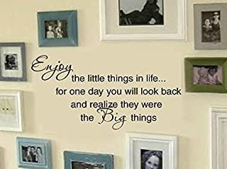 FAMILY Enjoy the little things in life Picture Wall Display Home VInyl Wall Lettering Words Decal 26wx13h