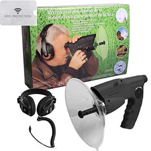 Parabol Abhoranlage Spion mit Kopfhorer Richtmikrofon McVoice Zieloptik Abhortechnik Horgeschadigte 90m 23852 1x RFID Hulle