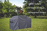 CHENHAO Outdoor Barbecue Gas Grill Cover 600D Oxford Heavy Duty Waterproof and Dustproof BBQ Cover with Handle for Weber Charbroil Grill (57.5'(L)×24'(W)×47.5'(H))