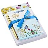 Hallmark 5STZ5084 - Bloc de notas con bolígrafo, diseño de mariposas y flores...