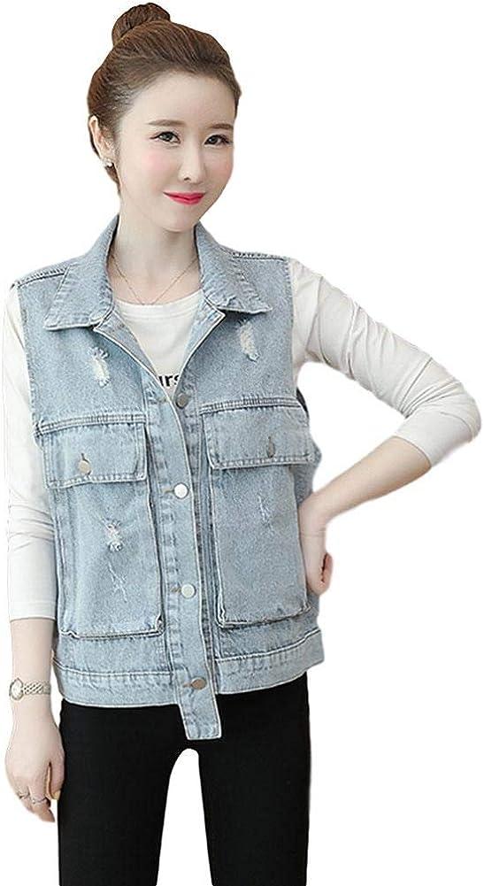 HALITOSS Women's Sleeveless Button Down Loose Washed Denim Jean Vest Waistcoat Jacket