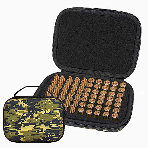 Brappo Hard Carrying Case Compatible with 70PCS Round Flip-Top Ammo Box 380/9MM Cal (Green)